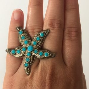 Gold and blue starfish ring